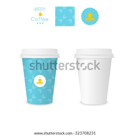 Closed paper cup for coffee with texture. Sample seamless pattern coffee badge. Mock up. blue, arrow - stock vector
