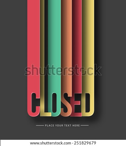 Closed paper cut text on abstract background with drop shadows. Vector illustration. - stock vector