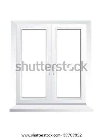 Closed plastic glass window - vector - stock vector