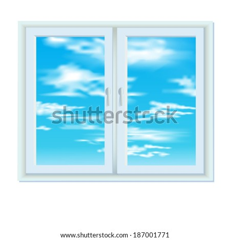 Closed plastic window with the sky and clouds behind him. White background.