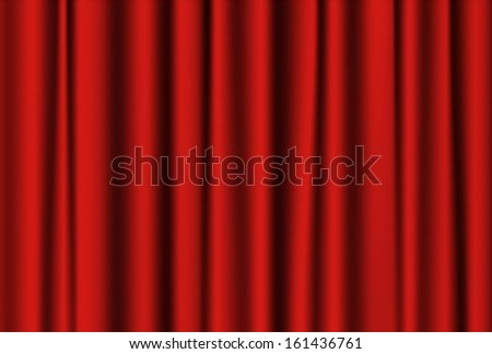 Closed red theater curtain. Drapery Textile Background. Vector EPS 10 illustration. - stock vector