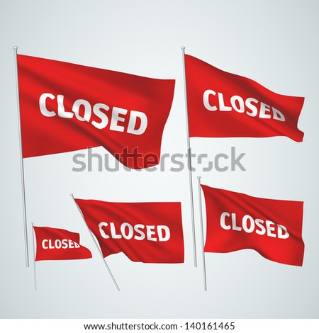 Closed - red vector flags. A set of wavy 3D flags created using gradient meshes. EPS 8 vector