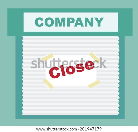 Closed Sign - business that has gone bankrupt - stock vector