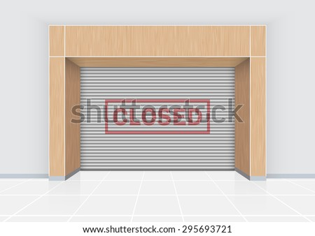Closed text on shutter door, modern style. - stock vector