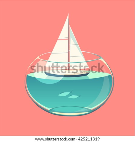 Closed water sailing. Concept vector illustration. - stock vector