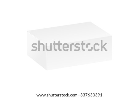 closed white blank box on white background, isolated