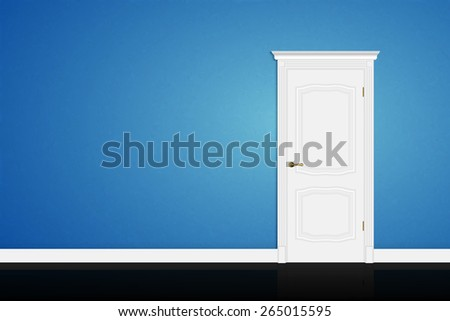 Closed white door on blue wall background. Vector - stock vector
