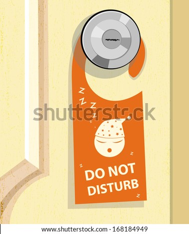 closed white door with a Do Not Disturb sign on the handle - stock vector