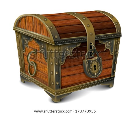 Closed wooden chest - stock vector
