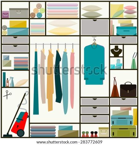 Closet. Furniture. Closet, wardrobe inside. Closet. Flat style closet, sliding-door wardrobe inside, clothes, everyday household items. Closet, clothes, everyday. Closet, clothes, everyday. Closet. - stock vector