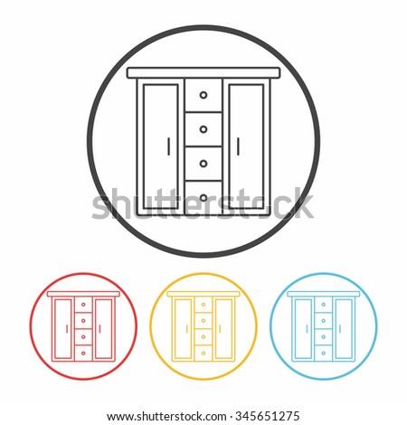 closet line icon - stock vector