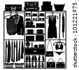 Closet Wardrobe Cupboard Cloth Accessories Man Woman Fashion Wear Silhouette - stock vector