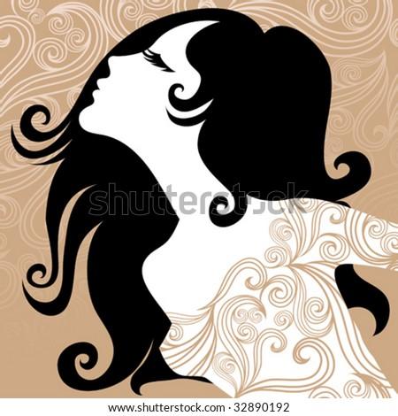 Closeup decorative vintage woman in ornate dress - stock vector