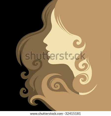 Closeup decorative vintage woman with beautiful hair - stock vector