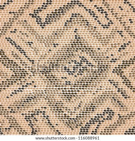 closeup illustration of a patterned snake skin. - stock vector