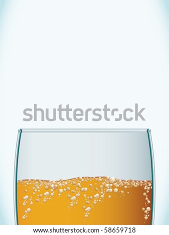 Closeup of a cold beer glass - stock vector