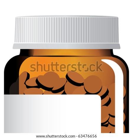 Closeup of a pill bottle. - stock vector