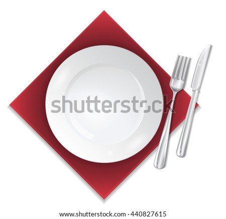 closeup of a place setting with dinner-plate - stock vector
