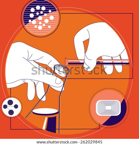 Closeup of a scientist working with samples in lab  - stock vector