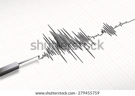 Closeup of a seismograph machine earthquake in vector format - stock vector
