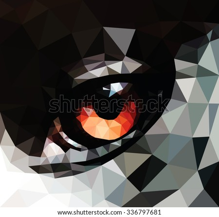 Closeup of a wild animal eye, low poly vector illustration.