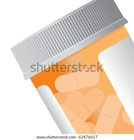 Closeup of an orange pill bottle. - stock vector