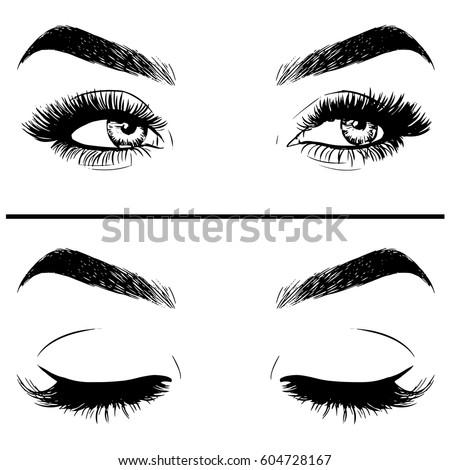 closeup beautiful woman eye makeup stock vector 604728167