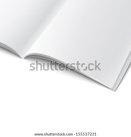 Closeup of blank opened magazine cover template on white background with soft shadows. Vector illustration. EPS10. - stock vector