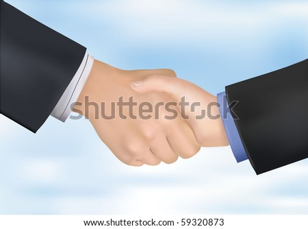 Closeup of business people shaking hands. Photo-realistic vector illustration - stock vector