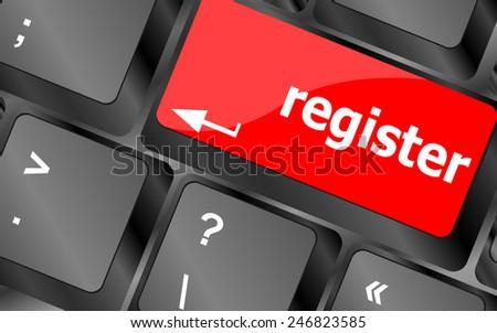 Closeup of register key in a modern keyboard - stock vector