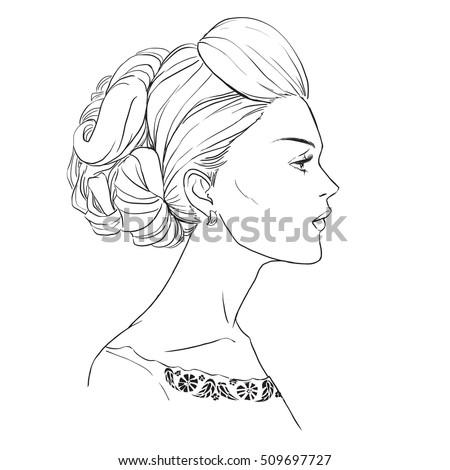 closeup profile portrait beautiful young woman stock