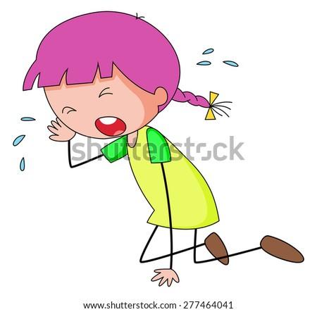 Closeup sad girl crying alone - stock vector