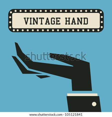 closeup vintage hand, palm up. - stock vector