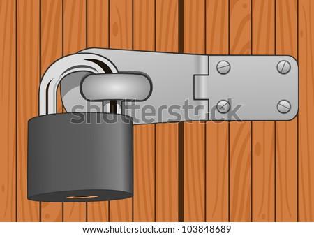 Closeup wood door with padlock