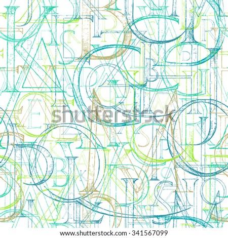 Cloth pattern. Classic abc. Bright fashion fabric. Antique fabric. Abc background. Vintage education. Roman alphabet  background. Method of construction. Romaine art. Latin school. Roman pattern. - stock vector