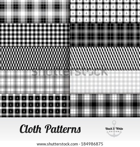 Cloth Pattern Set ( Square, black and white ) - stock vector