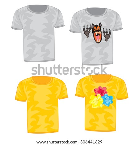 Cloth t-shirt with drawing on white background is insulated