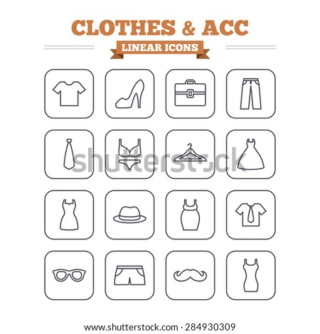Clothes and accessories linear icons set. Shirt with tie, pants and woman dress symbols. Hat, hanger and glasses thin outline signs. Underwear and maternity clothes. Flat square vector