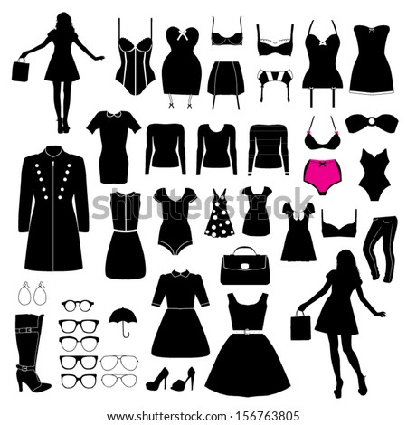 Clothes and accessory - stock vector