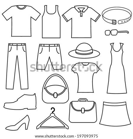Clothes Blank Icons - stock vector