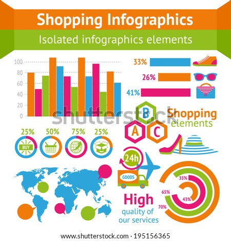 Clothes boots and accessories with map and charts in shopping infographic set vector illustration
