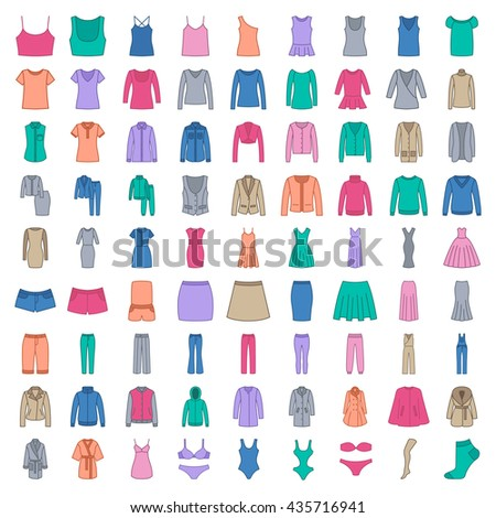 Clothes colored icons, vector, on white background - stock vector