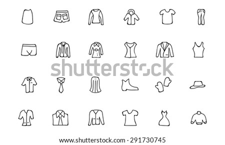 Clothes Hand Drawn Doodle Icons - stock vector