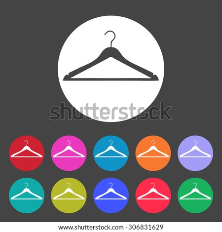 Clothes Hanger icon. Set of colored icons. - stock vector
