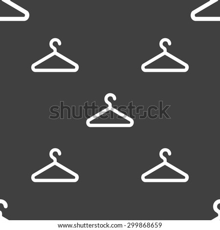 clothes hanger icon sign. Seamless pattern on a gray background. Vector illustration - stock vector