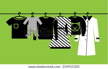 Clothes. Hanger with clothes. Vector - stock vector