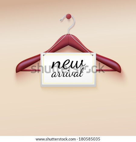 Clothes hanger with new arrival tag - stock vector
