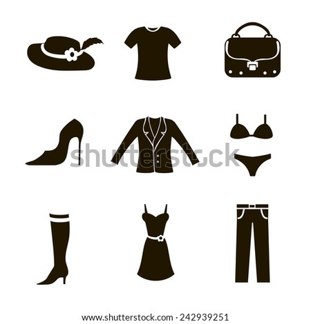 Clothes icon set woman black on white background trousers bag jacket shoes t-shirt - stock vector