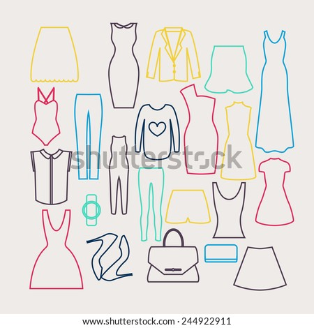 Clothes icon vector set, vector collection of fashion signs and symbols. - stock vector