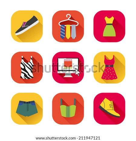 clothes icons. on-line shop with fashion. summer fashion. - stock vector